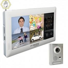 Kit de TV Portero TOUCH SCREEN QUAD con DVR Integrada. Incluye frente de calle metálico